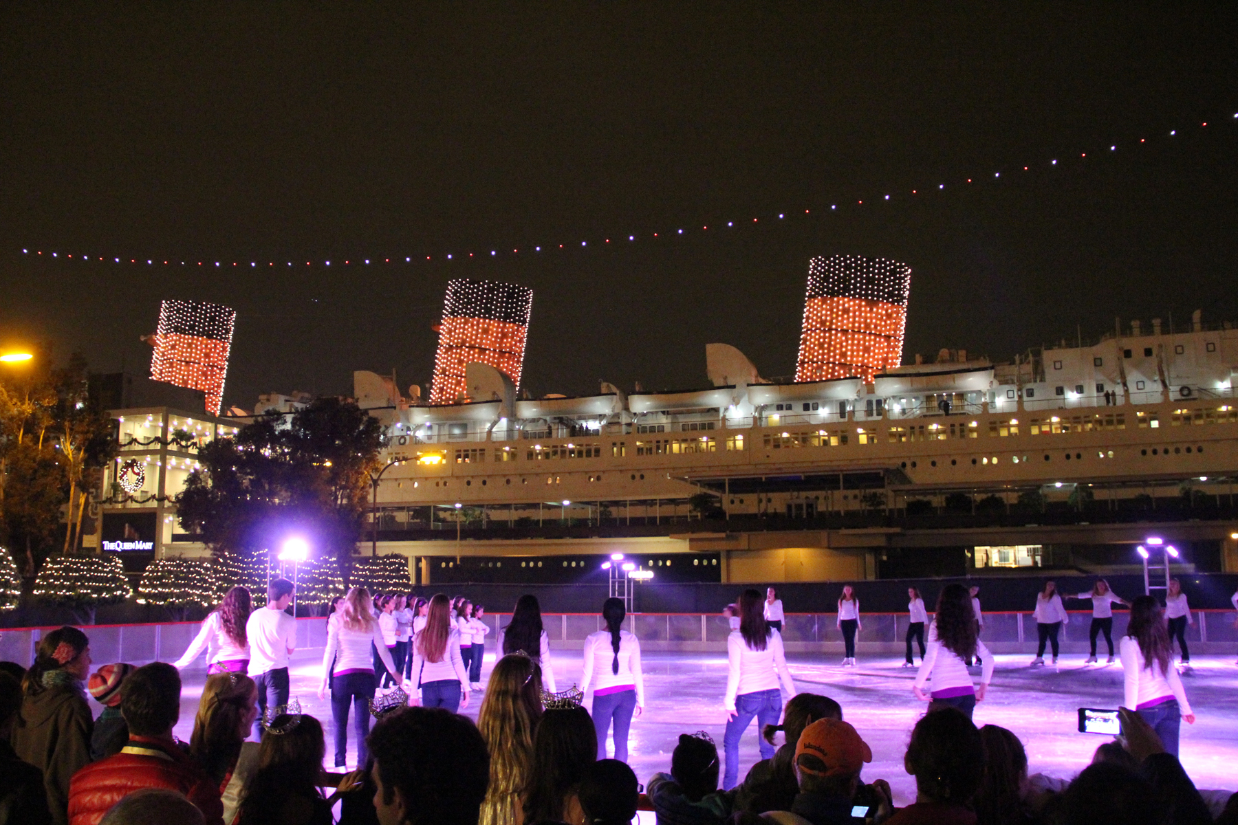 People enjoy the ice skating rink at Queen Mary's winter event: CHILL