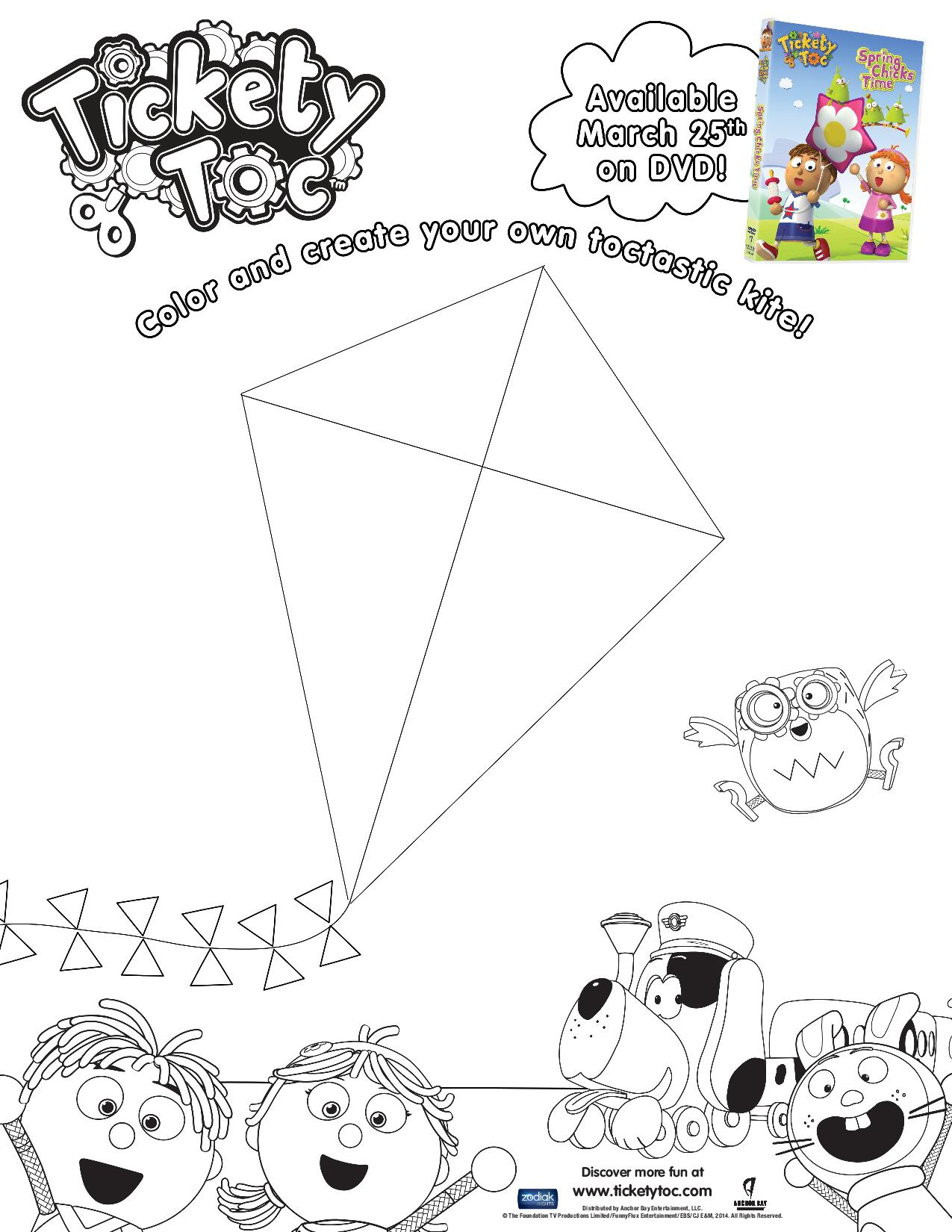 Free printable kite coloring pages - Pr Printable Coloring Kites Tickety Toc Design Your Own Kite Coloring Pre Page 001