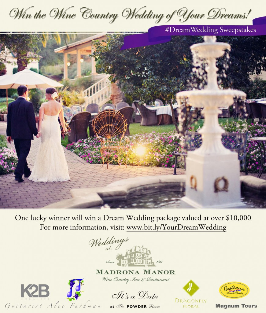 Madrona Manor Dream Wedding Sweepstakes - Flyer