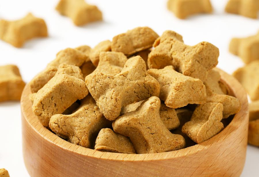 Keywords: dog food;bones;biscuit;crunchy;snack;treat;food;bone-shaped;vitamin;mineral;brown;small;pet food;nutrition;plate;bowl;closeup;studio shot