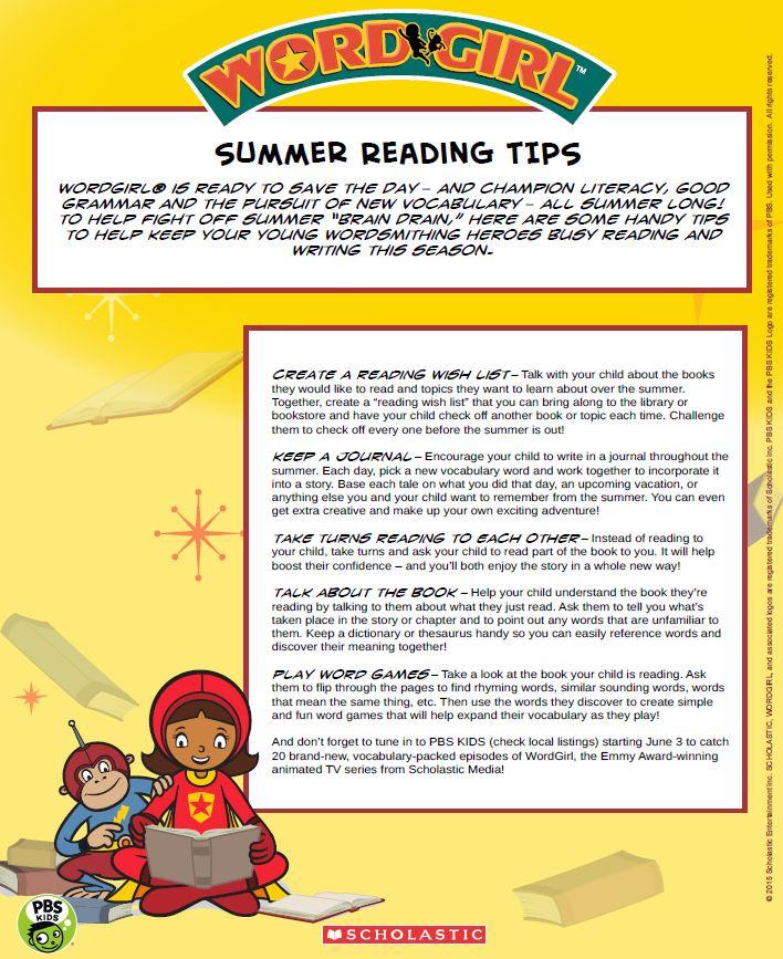 WordGirl Summer Reading Tips