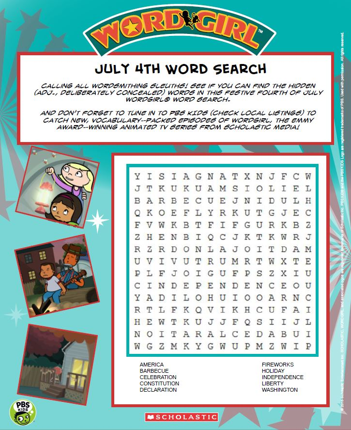WordGirl July 4th Word Search