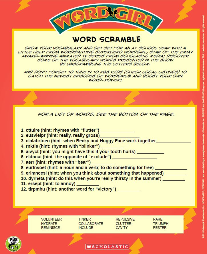 WordGirl Word Scramble