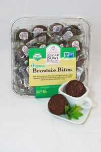 Organic Brownie Bites - both out of wrapper 1 in coffee cup big package in background