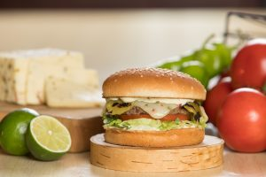 Hatch Chile Charburger with Pepper Jack cheese